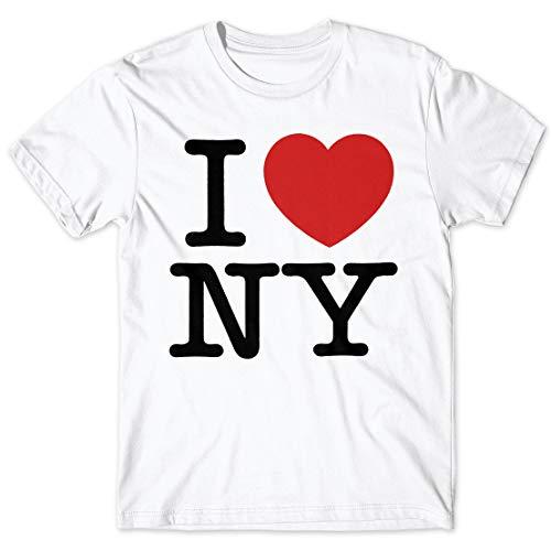 LaMAGLIERIA Camiseta Hombre I Love NY - t-Shirt 100% algodón, XL, Blanco