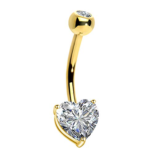 OUFER 14K Gold Heart Solitaire Cubic Zirconia Belly Button Ring