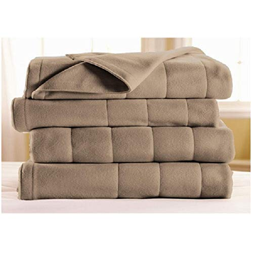 Sunbeam Royal Dreams Twin Quilted Fleece Electric Blanket Mushroom Washable Auto Shut Off 10 Heat Settings