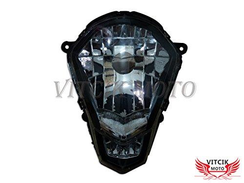 VITCIK Ensamblaje de Faros Delanteros para KTM 200 Duke 125 390 2012 2013 2014 2015 Kit de ensamblaje de Faros Delanteros (Negro)