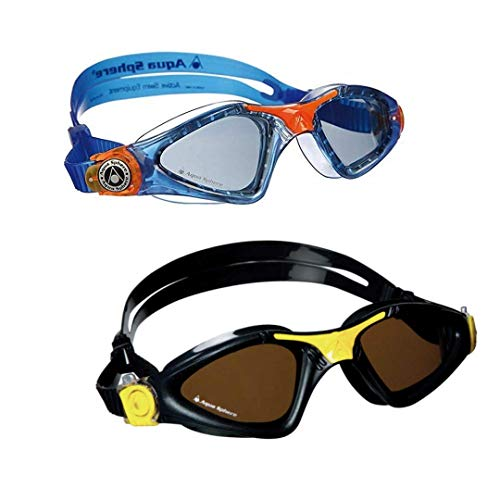 Aqua Sphere Kayenne Swim Goggles. Adult & Junior Bundle for Parents and Kids. (2 Pair)