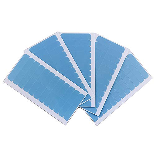 60×Pre-Cut Double Sided Adhesive Tape Tab For Hair Extension 4cm x .8cm Invisi-Tab Double Sided Human Hair Tape for Replacement-Blue(60 PACK-Tape 1)