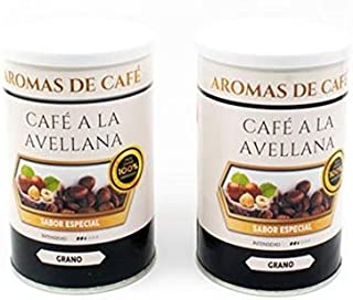 Pack de 2 - Café de Avellana 100% Arábica en Grano - Café en Grano Sabor Avellana - Intensidad Media Suave e Intenso - 2x100 gr