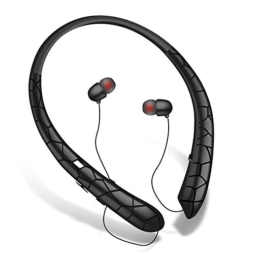 Bluetooth Headphones, Wireless Retractable Earbuds Bluetooth 5.0 Neckband Headset Sport Sweatproof Stereo Noise Cancelling Earphones with Mic (Black)