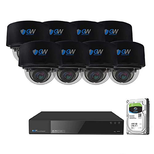 GW Security 8 Channel 4K NVR 8MP (3840x2160) H.265+ IP PoE Security Camera System with 8 UHD 4K 2.8-12mm Varifocal Zoom 8 Megapixel Waterproof AI Dome Camera, Face Detection, Intelligence Analytics