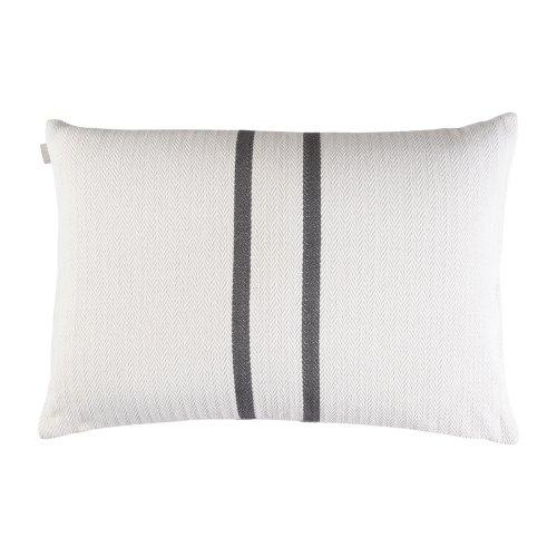 Linum Kissenhülle Lassie G19 weiß mit dunkelgrauen Streifen 50cm x 70cm, 100% Baumwolle, Kissenbezug, Kissen, Wohntextilien