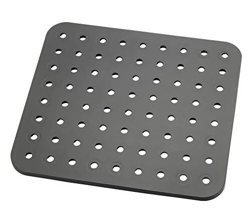 WENKO Eckige Spülbeckeneinlage Kristall, schützt vor Kratzern an Geschirr & Spülbecken, reduziert Wasserspritzen & verhindert Wasserstau, robuster, pflegeleichter Kunststoff, 31 x 27,5cm, Schwarz