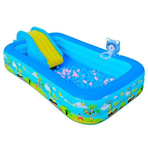 SEYE1° Dickes Aufblasbares Schwimmbad Mit Rutsche Großes Rechteckiges Oberirdisches Sprengbecken Geeignet Für Kinder Und Erwachsene Zum Spielen Im Garten