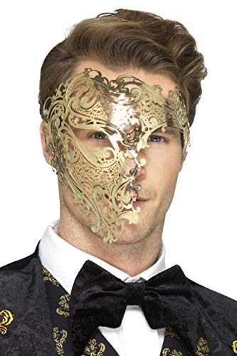 SMIFFY 'S 48164 Deluxe Metal Filigraan Phantom Masker, Goud, One Size
