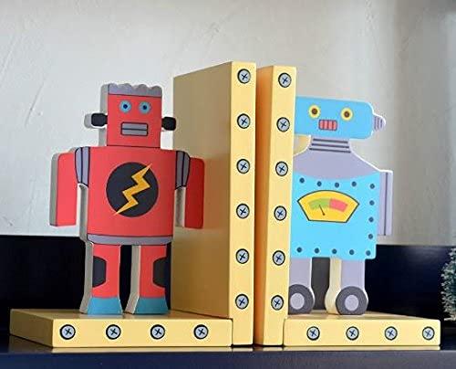 子供部屋に かわいい カラフル ロボット モチーフ ブックエンド 2個セット