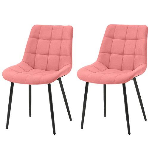ModernLuxe - Set di 2 sedie per sala da pranzo, soggiorno, in tessuto, con schienale, per sala da pranzo, soggiorno, cucina
