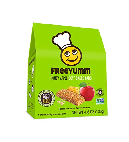FreeYumm - Honey Apple Soft Baked Bars - 15 Individually Wrapped Bars - Allergen Free - Gluten Free - School Friendly