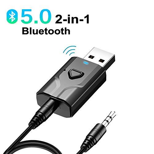 NETVIP Bluetooth Adapter V5.0 Transmitter Empfänger 2 in 1 Mini Audio Adapter mit TX/RX-Schaltmodus (3,5mm Audio Kabel, USB Anschluss) für Kopfhörer HiFi Lautsprecher/Radio Auto/Fernseher/PC/Laptop