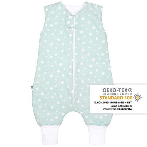 Premium Baby Schlafsack mit Füßen Ganzjahr, Größe: 70cm (74/86), Bequem & Atmungsaktiv, 100% Bio-Baumwolle, OEKO-TEX Zertifiziert, Flauschig, Bewegungsfreiheit, 2.5 TOG, Punkte Mint von emma & noah
