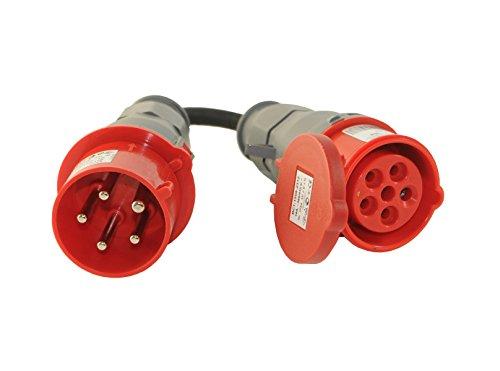 CEE Adapter 32A/400V Stecker auf CEE 16A/400V Kupplung 5-polig 5x2,5mm