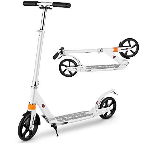 CAROMA Scooter Kinder Über 8 Jahre Kickscooter Roller mit 3 Sekunden einfachem Klappsystem und Big Wheel, Tragkraft 220 Lb (White)