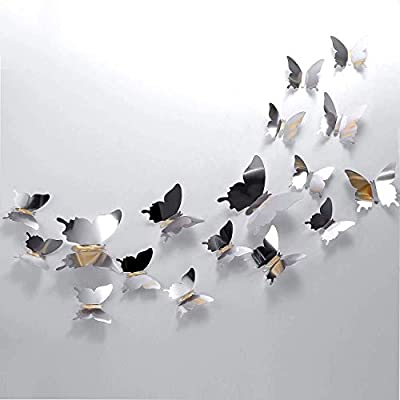 24 Pcs DIY Mirror Butterfly Combination 3D Butterfly Wall Stickers Decals Home Decoration