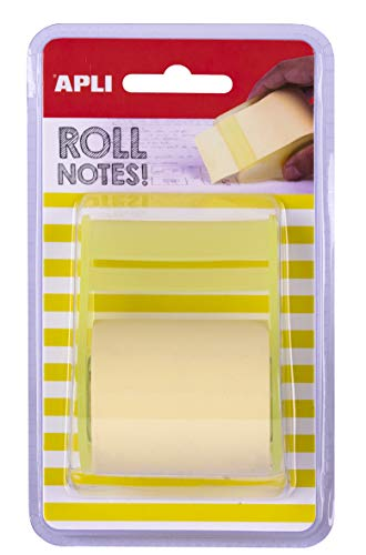 APLI 18190-Rollo dispensador de nota adhesiva 50 mm x 8 m color amarillo pastel