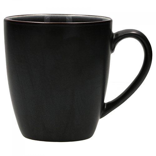 Van Well Elements Kaffeebecher 350ml | Farbe schwarz | glasiertes Steingut Geschirr Service Serie handbemalt | Mikrowellen und Geschirrspüler geeignet