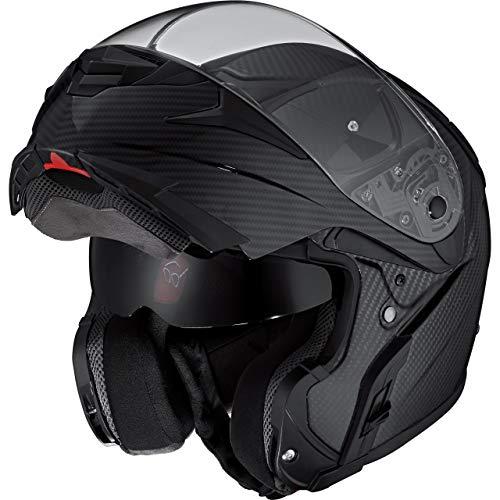 Nexo Klapphelm Motorradhelm Helm Motorrad Mopedhelm Carbon Travel II, Carbonhelm mit Sonnenblende, 1.500 g, großes, klares, kratzfestes Visier, effektive Belüftung, Klickverschluss, Schwarz, XL