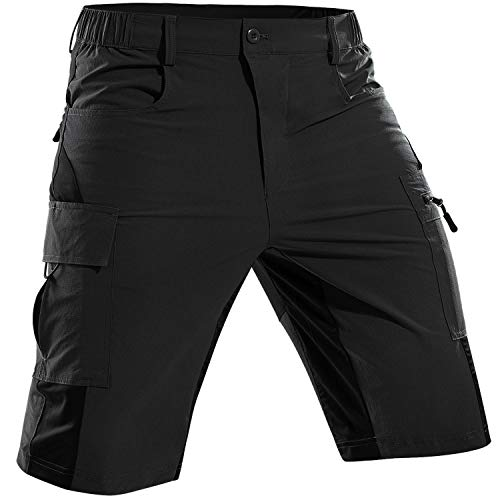 Cycorld Men's-Mountain-Bike-Shorts-MTB-Shorts-Cycling-Riding-Biking-Baggy-Shorts Quick Dry Lightweight with Pockets Black