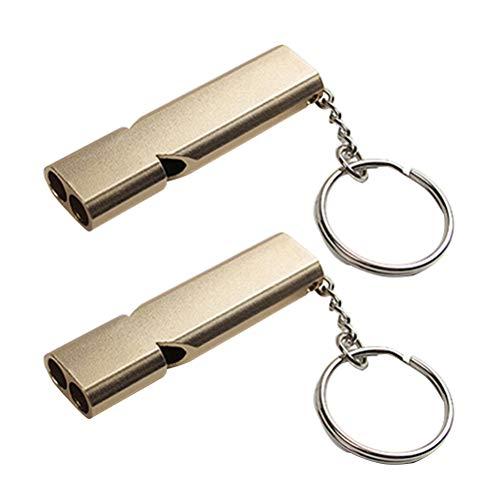 VORCOOL 2pcs Sifflet de Survie Double Tubes Sifflets de sécurité avec Porte-clés (Or)