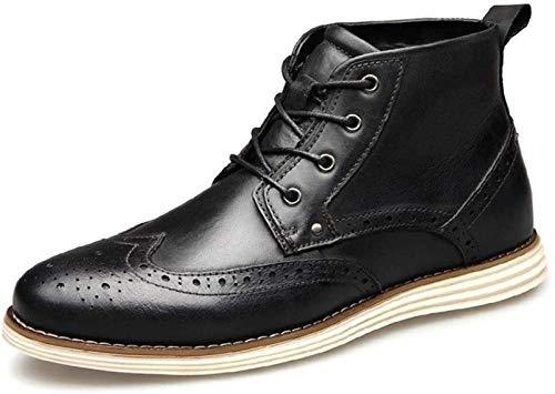 Zapatos de Hombre Botina for Los Hombres Ata for Arriba El Cuero Auténtico Brogue Extremo Del Ala De La PU De Arranque Forrado Acolchado Soles Experimentados Cosido ( Color : Black , Size : 45EU )