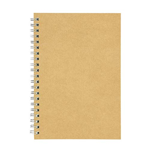 Soft Cover Spiral Notebook Journal, Coofficer Blank Sketch Book Pad, Wirebound Memo Notepads Diary Notebook Planner with Unlined Paper, 100 Pages/ 50 Sheets, 7.5'x 5.1' (Brown)