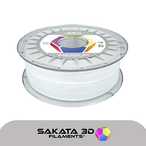 Sakata PLA3D850 3D-Filament, 1kg, 1,75mm, Ingeo Biopolymer 3D850,für 3D-Drucker und 3D-Stifte, hergestellt in Spanien, weiß, 1
