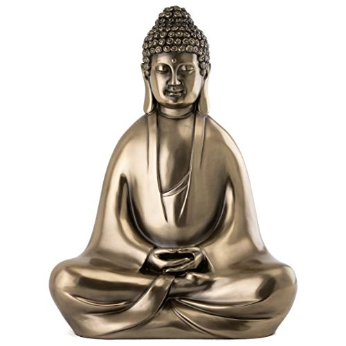 Top Collection Modern Shakyamuni Buddha Statue Meditating - Hand Painted Enlightened Supreme Buddha Sculpture in Premium Cold Cast Bronze - 12.5-Inch Collectible East Asian New Age Figurine