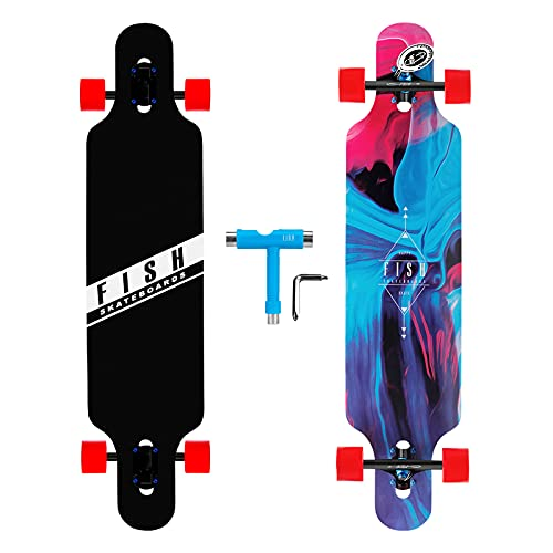FISH SKATEBOARDS 41-Inch Downhill Longboard Skateboard Through Deck 8 Ply Canadian Maple, Complete...