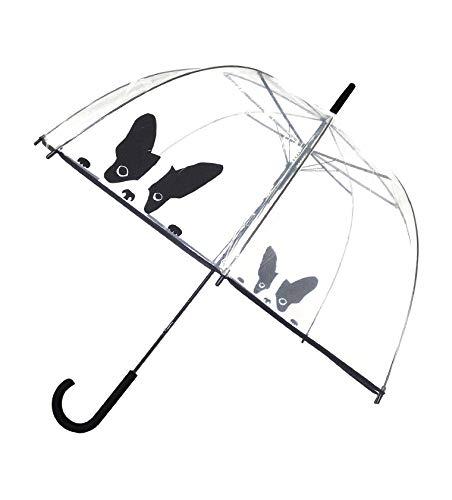 SMATI transparenter Regenschirm Damen Automatik-Stockschirm Glockenform mit Hund (Hund)