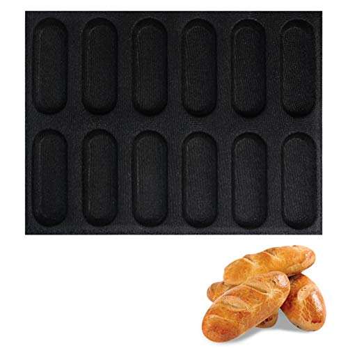 Hot Dog Bun Mold Mini Silicone Baguette Mould NonStick Baking Form Mini Baby Sandwich Baking Molds Silicone Perforated Baking Forms12LoafBlack