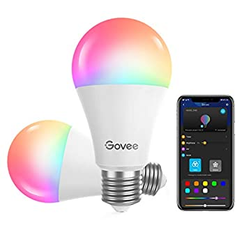Govee Smart Light Bulbs Dimmable RGBWW 9W LED Color Changing Bulbs 60W Equivalent Work with Alexa & Google Assistant No Hub Required A19 Decorative Lighting Bulbs for Bedroom Living Room 2 Pack
