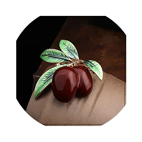 hotmoment-uk Spilla Vintage Smaltata a Forma di ghianda Filbert, Spilla da Donna, in Metallo, per Costumi e Maglioni e Cristallo, Colore: Marrone Ciliegia.