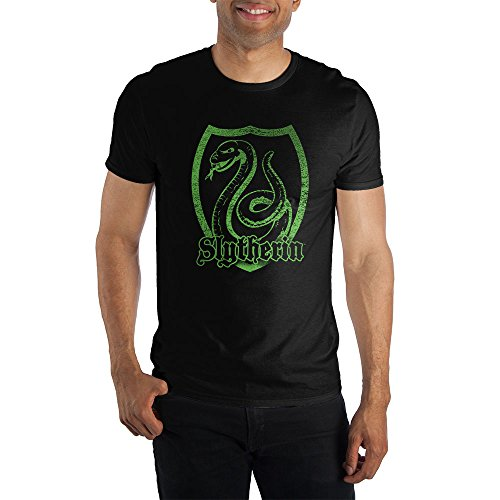 Harry Potter Slytherin Logo Specialty Soft Hand Print Men's Black Tee T-Shirt Shirt-Medium