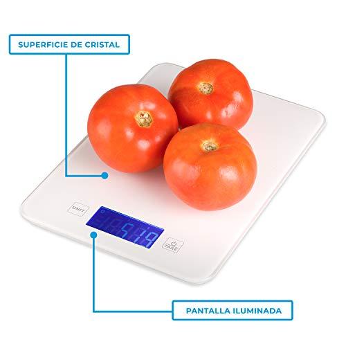 Báscula digital de cocina barata con Bluetooth para Smartphone, con aplicación para control de calorías y dietas, con info nutricional de alimentos. Con precisión de 1g. Garantía de 2 años