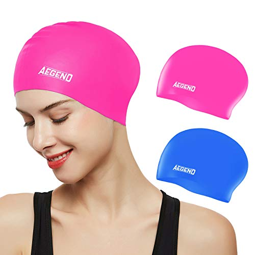Aegend Swim Caps for Long Hair (2 Pack), Durable Silicone Swimming Caps with Spacious Space for Women Men Adults, Easy to Put On and Off, Blue Pink