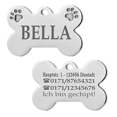 Iberiagifts - Hundemarke Knochen mit Pfoten aus Edelstahl mit Gravur für mittelgroße bis große Hunde und Katzen - Plakette graviert und personalisiert (Mit 2 Pfoten)