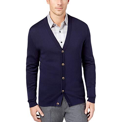 Tasso Elba Mens V-Neck Heathered Cardigan Sweater Navy M