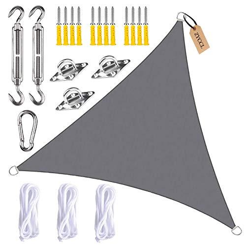 ZYCCL Toldo de vela con kits de fijación, triángulo, impermeable, antiUV, para patio, terraza, jardín, actividades al aire libre, gris, 4 x 4 x 5,7 m