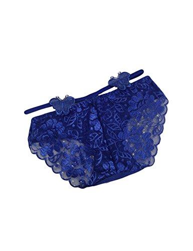 Letuwj Damen Spitze Slips Schmetterlinge Tanga String Blau Einheitsgröße