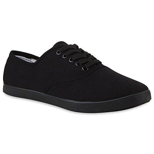 stiefelparadies Sportliche Sneakers Herren Sneaker Low Freizeit Stoff Schnürer Basic Turn Herren Schuhe 118062 Black Black 42 Flandell