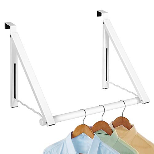 Over the Door Closet Valet- Heavy Duty Double Storage Hooks - Expandable and Collapsible Hanging Rack Organizer Bracket Perfect for Clothes and Towels Ideal for Bathrooms Dorm Rooms Condos White