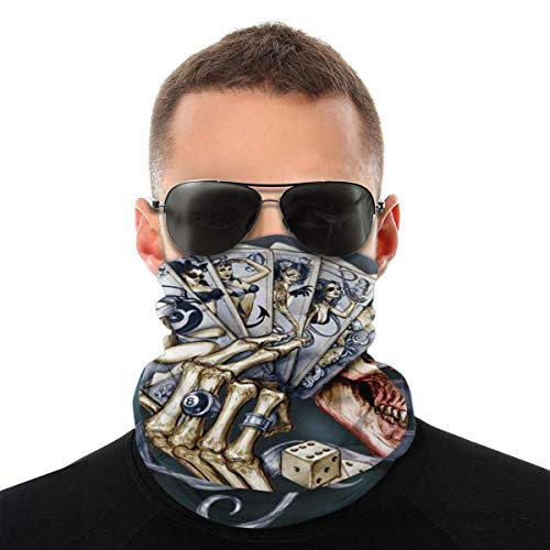 Nother Balaclava Headband Scarf Skull Dice Cards Poker Outdoor Headwear Neck Gaiter Face Mask for Cycling Camping Running Outdoor Sports Head Scarfs