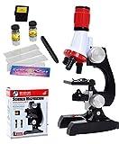 Kits de ciencia para niños Microscopio Principiante Microscopio Kit LED 100X, 400x y 1200x Ampliación Niños Juguetes de Ciencia para Niños Niñas Estudiantes