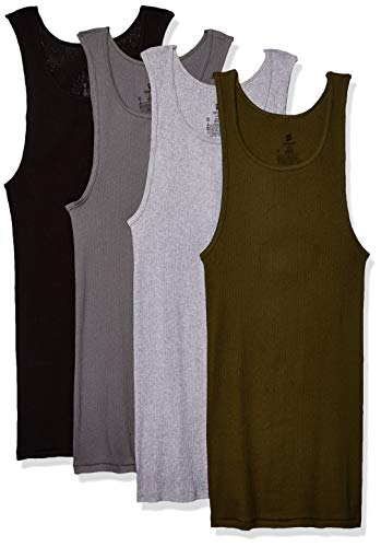 Hanes Men's FreshIQ ComfortSoft Dyed Tagless Tanks 4-Pack, Assorted, Large