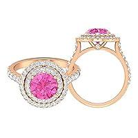3.50カラットの婚約指輪、人工ピンクサファイアとモアッサナイトのアクセント(8MM丸型人工ピンクサファイア), 14K ローズゴールド, Size: 16