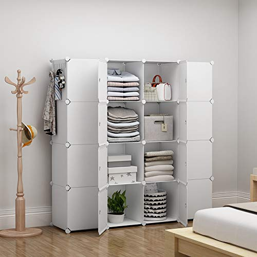 YOZO Clothes Wardrobe Portable Closet Modular Dresser Garment Rack Polyresin Storage Organizer Bedroom Armoire Cubby Shelving Unit Dresser Multifunction Cabinet DIY Furniture, White, 16 Cubes