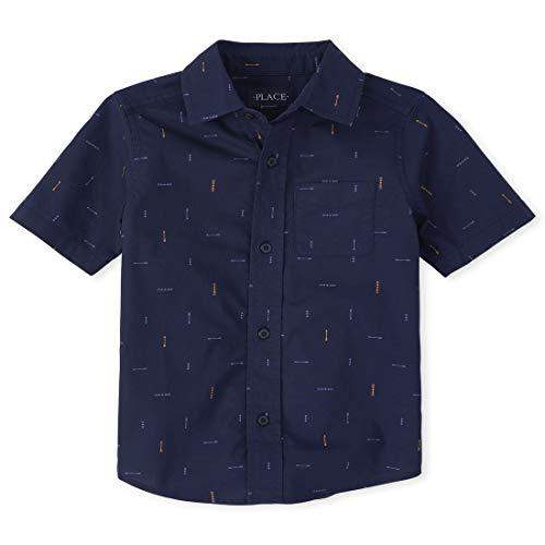 The Children's Place Boys' Short Sleeve ONE Pocket Printed POPLIN Shirt, Tidal, Large